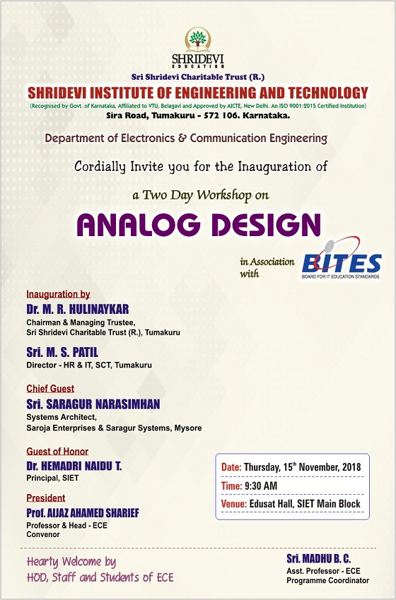 A Two Day Workshop on ANALOG DESIGN
