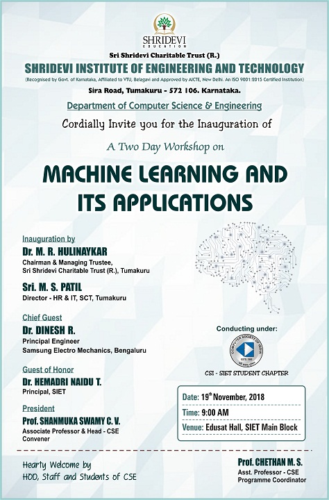 Two Day Workshop on MACHINE LEARNING & ITS APPLICATIONS