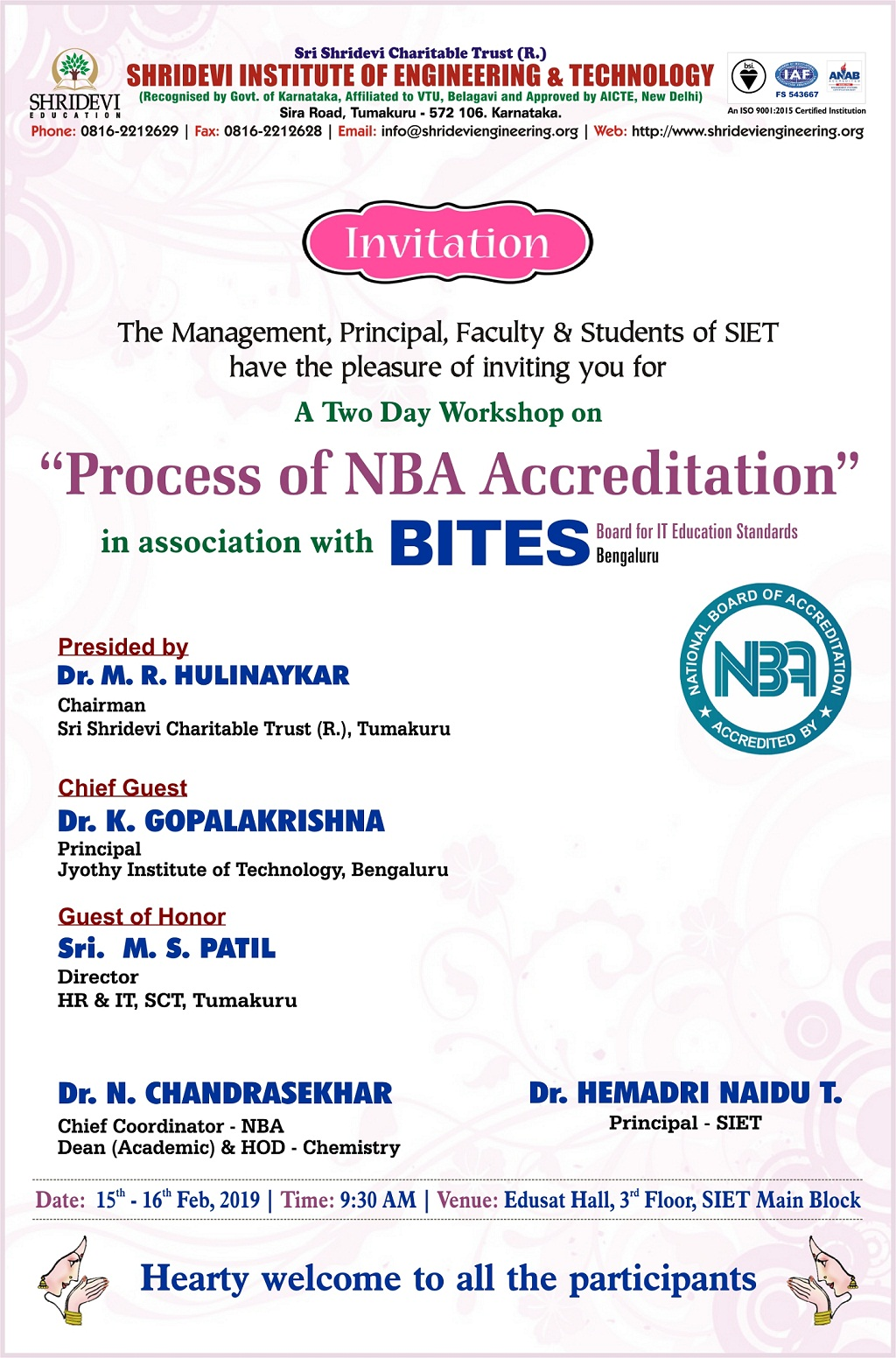 "TWO DAYS WORKSHOP ON ""PROCESS OF NBA ACCREDITATION"""